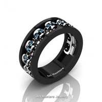 Mens Modern 14K Black and White Gold Blue Topaz Skull Channel Cluster Wedding Ring R913-14KBWGBT