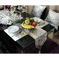 Latest Silver Shine Patchwork Table Runner