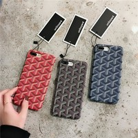 """Goyard"" Unisex Personality Rhombus Grid iPhoneX/8/6S Phone Leather Hard Shell iPhone7 Plus Apple Couple Phone Case"