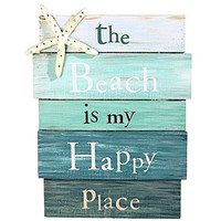 Beach is My Happy Place - Aqua Plankboard with Starfish Decorative Sign - 12-in