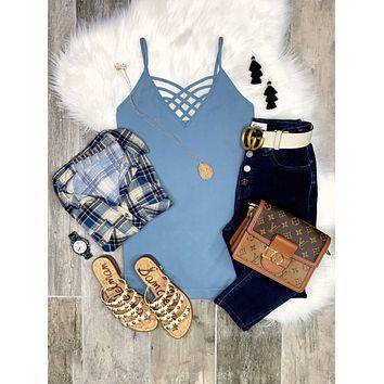 Long Caged Cami - Ash Blue