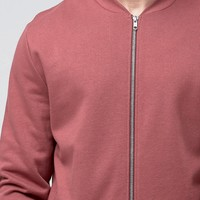 ASOS Jersey Bomber Jacket In Washed Red