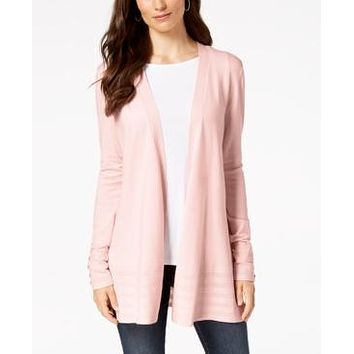 Charter Club Petite Pointelle-Trim Open-Front Cardigan, Created for Macys - Misty Pink