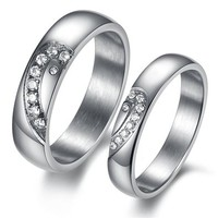 MagicPieces Fashion Jewelry Heart AAA High Quality CZ Titanium Stainless Steel Couple Ring DP 0613