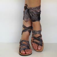 """Leather Sandals, handmade, Unique with silk scarf straps  """"APHRODITE"""" AS09 All sizes Available"""