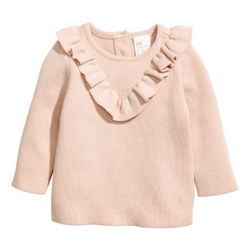 Cotton Sweater with Ruffle - from H&M