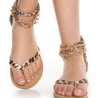 CityClassified Kippy Tan Leopard Ankle Chain Thong Sandals - $25.00