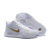 Best Deal Online Nike Kyrie Irving 3 Men Basketball Sneaker White Gold Sports Shoes
