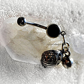 Baseball Glove and ball Belly Ring, Navel Ring, Belly button Ring, Belly Button Ring Jewelry, Sports Jewelry Al