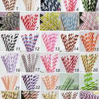 100 Colored Striped Paper Drinking Straws-Cake Pop Sticks Party Drinking Straws for Wedding Birthday Blue Yellow Brown Pink Green Grey Ivory