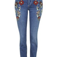 MOTO Embroidered Straight Jeans - Blue