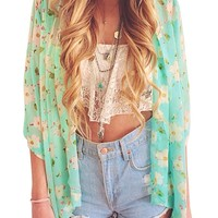 LookbookStore Womens Floral Sheer Crop Sleeve Chiffon Kimono Blouse