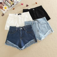 High Waisted Frayed Denim Shorts