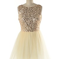 Champagne and Caviar Ballerina Sequin Tulle Dress in Gold