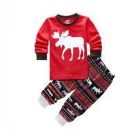 Christmas Baby Outfit sets Reindeer Print Kids Baby Boys Girls Outfits Pajamas Set 2Pcs Sleepwear Clothing for Children