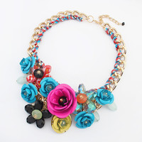 New Arrival Shiny Stylish Gift Jewelry Bohemia Floral Necklace [4918867140]