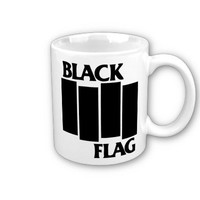 Black Flag Punk Rock Band Coffee, Hot Coco, Tea Mug, Includes Pinback Buttons And Gift Box.