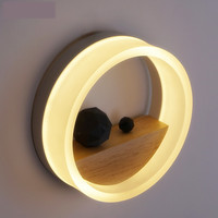 Modern Wall Sconce Wood/Acrylic Led Wall Sconce Bedside Readinglamp Round Shape Warm White Led Bedroom Lighitng