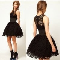 E--shopping Womens Black Tutu Party Tunic Lace Prom Cocktail Dress (M)