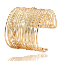 Punky Style Hollow Cuff Retro Braid Big Gold Color Bangles Charm Vintage Multilayer Wide Bracelet