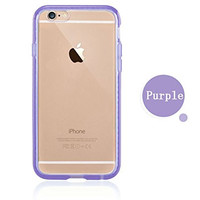 Colorful POPO Clear Hard PC Back Panel Hybird Soft TPU Bumper Case with Bling Rhinestone Diamond Frame for iPhone 6 & 6s 4.7 Inch (Purple)