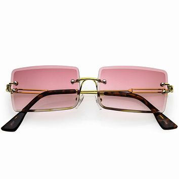 Luxe Square Neutral Bevelled Lens Metal Rectangle Sunglasses D225