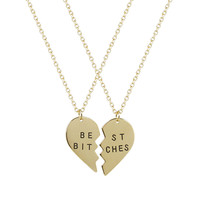 Best Friends BFF Forever Best Bitches Heart Pendant Necklaces (2 PC) ( 2 DAYS FREE SHIPPING)