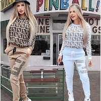 FENDI Women Casual Letter Pattern Print Long Sleeve Trousers Two-Piece Set