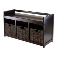 Winsome Trading Addison Storage Bench with 3 Baskets