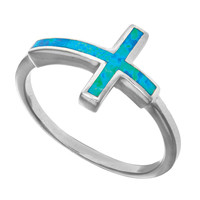 Sterling Silver With Rhodium Finish Sideways Cross Design With Created Opal Ring