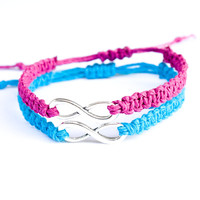 Infinity Friendship Bracelets Turquoise and Fuchsia
