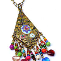 Indian Pendant Necklace Hand Painted Colorful Beaded Boho Bohemian Jewelry FREE SHIPPING