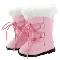 """Doll Clothes Fits American Girl 18"""" Inch Snow Boots Pink Fashion Style Shoes"""
