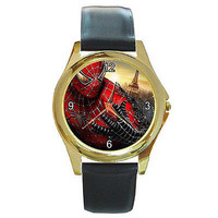 Spiderman ( Close Up ) on a Gold Tone Watch w/ Leather Bands *
