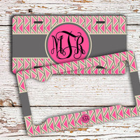 Cute gift idea Monogrammed chevron license plate or frame, Aztec car tag, Personalized bike accessory for girls, Atv plate, Pink gray (1413)