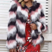 Haley Printed Faux Fur Jacket