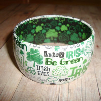 St Patrick's Day with Words Bracelet, Green Shamrock Bracelets, St, Patrick's day accessories, St Patrick's Day Jewelry