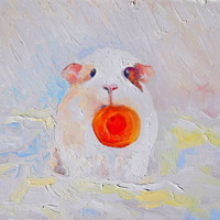 "Guinea Pig, Cavy, ""Bubu and a slice of carrot"", Original Oil Painting, Impasto, Canvas, Hardboard,  Gift, Home Decor, Painting to Order"