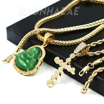 Iced Buddha Pendant w/ 5mm Franco Chain / CROSS Pendent w 4mm Rope Chain Set