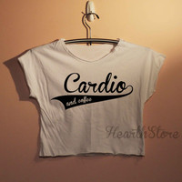 Cardio and Coffee Shirts Crop Top Midriff Mid Driff Belly Shirt Women - size S M