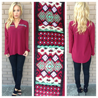 Burgundy & Mint Embroidered Long Sleeve Blouse