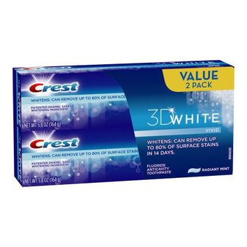 Crest 3d White Vivid Anticavity Teeth Whitening Radiant Mint Toothpaste 5.8oz, Twin Pack 11.6 Oz Total | deviazon.com