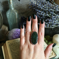Big Statement Ring Size 8 / Bloodstone Ring / Natural Stone and Copper Ring / Green Stone Ring / Crystal Ring Rustic Gypsy Ring / Boho Ring