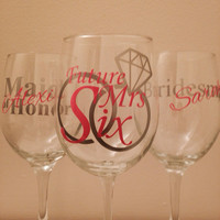 Custom Bachelorette party wine glass set