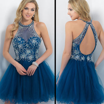 Custom Blue Sleeveless Backless High Neck Formal Evening Dresses Silver Beading & Crystals Homecoming Short Long Prom Ball Party Bridesmaid