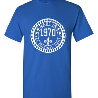 Made in 1970 All Original Parts Tshirt. 45th Birthday Shirt.  Funny Birthday Tshirts. Ladies and Mens Unisex Styles. Makes A Great Gift.
