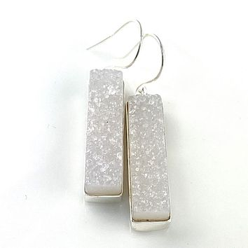 White Sparkling Agate Drusy Sterling Silver Earrings
