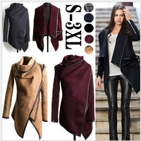 2015 Autumn and Winter Coat Women Long Cashmere Overcoats Desigual Woman Trench Wool Coats Fur Manteau Abrigos Mujer Plus Size