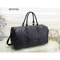 LV Louis Vuitton tide brand men and women large capacity casual wild portable Messenger bag black print