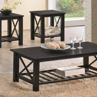 F3130 - Key Black Wood Finish Coffee Table/ End Tables Set - Furniture2Go